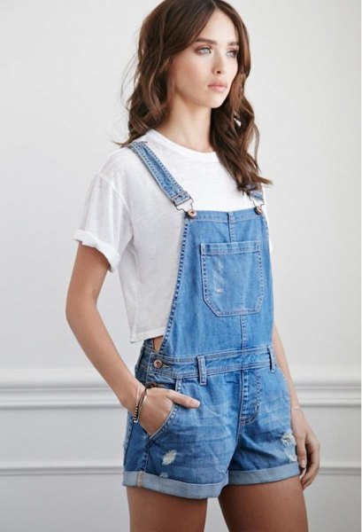 blue denim overall shorts white cropped t-shirt