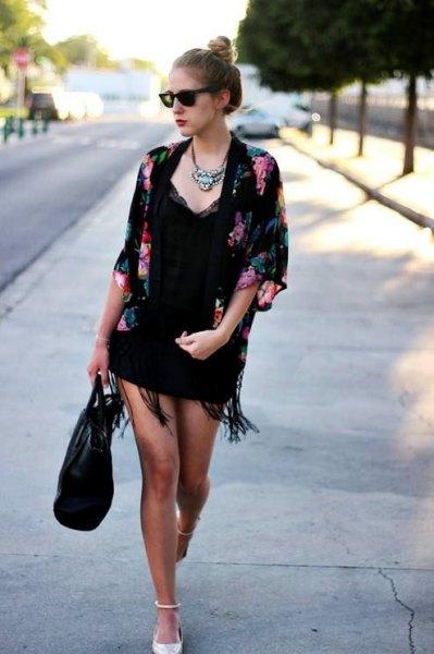 black floral kimono lace deep v-neck mini dress