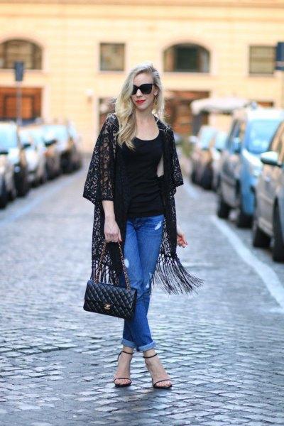 black pink printed kimono blue mom jeans