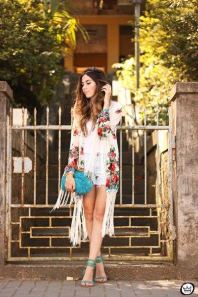 Ivory floral kimono light blue denim shorts