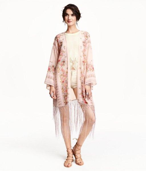 light pink floral kimono light yellow shorts