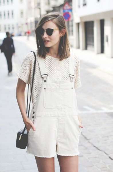 white denim overall shorts polka dot t-shirt