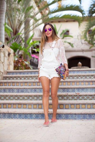 white denim overall shorts mesh long sleeve top