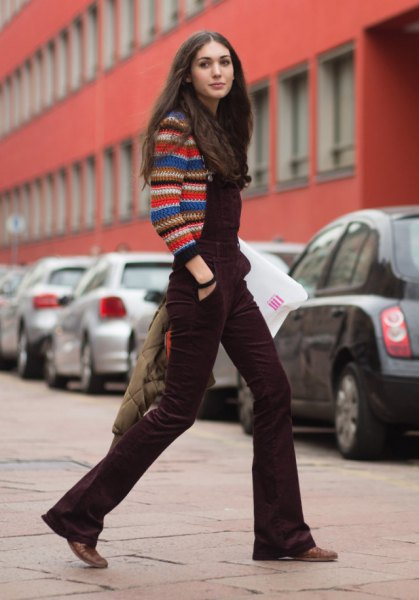 multicolor knitted sweater brown blown-out velvet overall