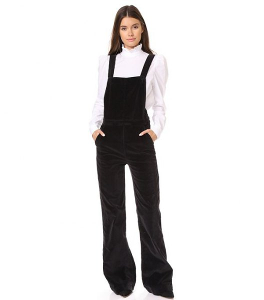 white scalloped collar shirt flared legs velvet overalls