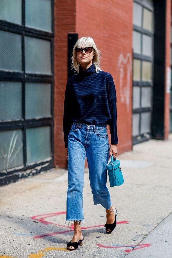 frayed bottom jeans chunky turtleneck