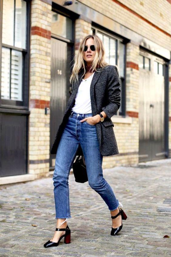 frayed bottom jeans white shirt blazer