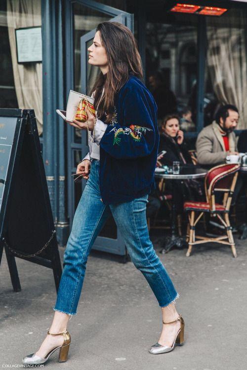 frayed jeans-velvet at the bottom