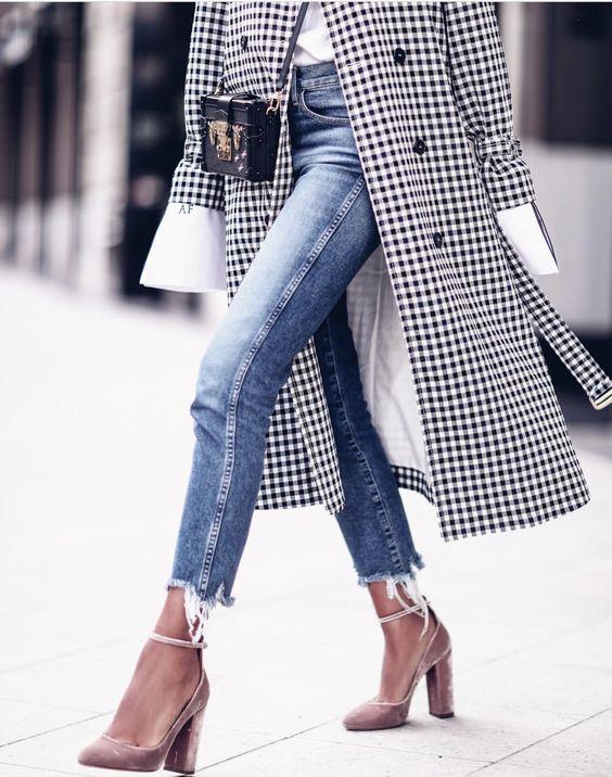 frayed bottom jeans gingham