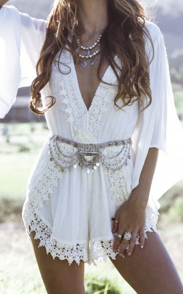 white boho style lace jacket mini dress with silver statement belt