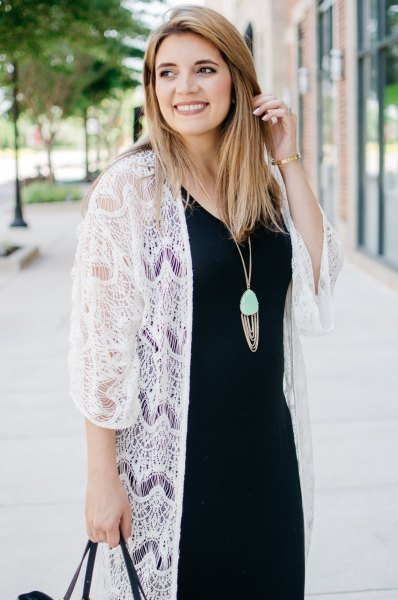 white long lace kimono black midi shift dress