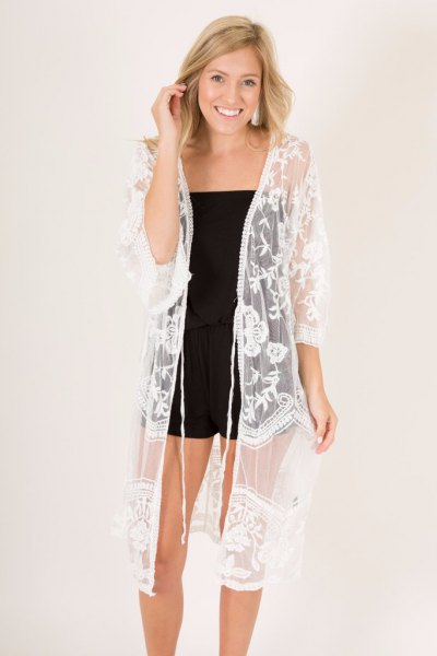 white semi sheer lace kimono black tub top shorts
