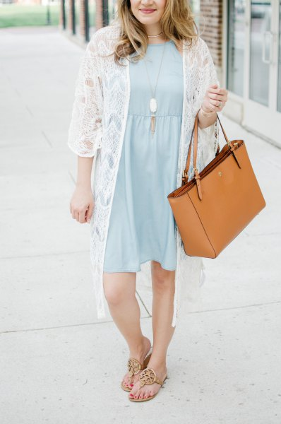 light blue gathered waist knee length dress white kimono