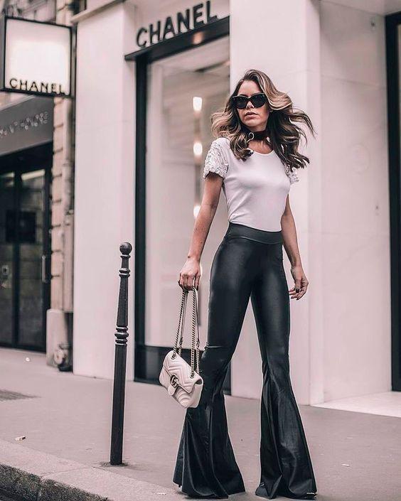 flare leggings classic leather