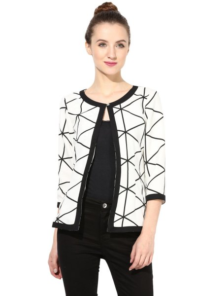 white and black printed shoulder print with vest-top jeans