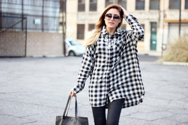 black and white plaid tunic leather leggings