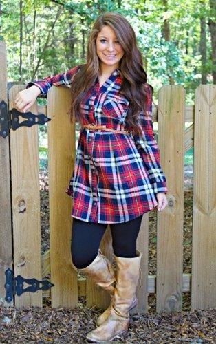 blue and red checkered tunic ivory knee high leather shoes