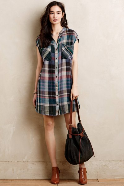 sleeveless plaid tunic brown leather boots