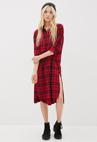 red and black checkered tunic sneakers with high top