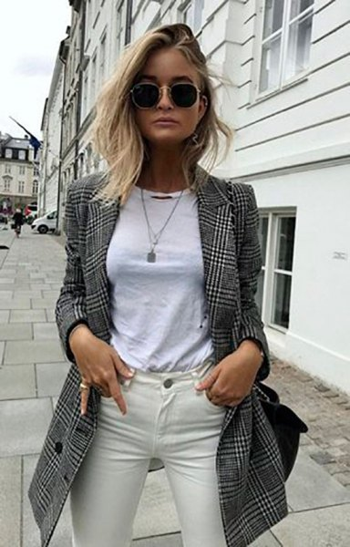 long gray plaid blazer white top ivory skinny jeans