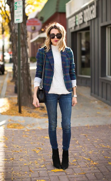 navy and green checkered jacket white sweater neck cable knit sweater