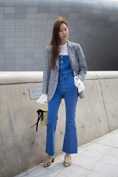 gray blazer with denim overalls