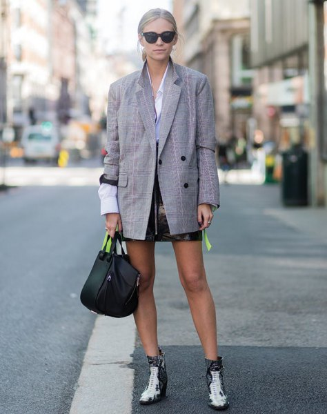 light blue button up shirt black leather skirt