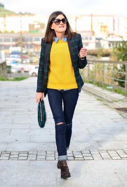 lemon yellow rib knit sweater chambray shirt