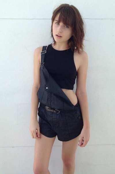 black cropped halter top shorts