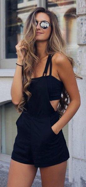 black overall shorts spaghetti strap crop