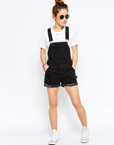 black overall shorts white tee high top sneakers