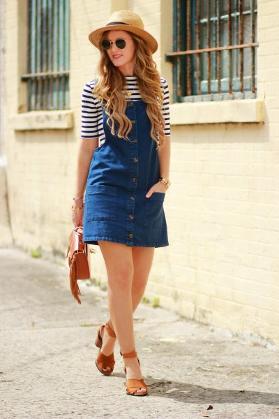 half-warm striped t-shirt straw hat
