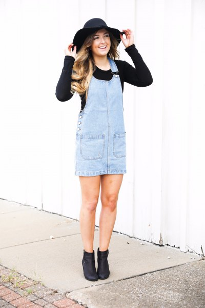 black fitted knit sweater light blue dress floppy hat
