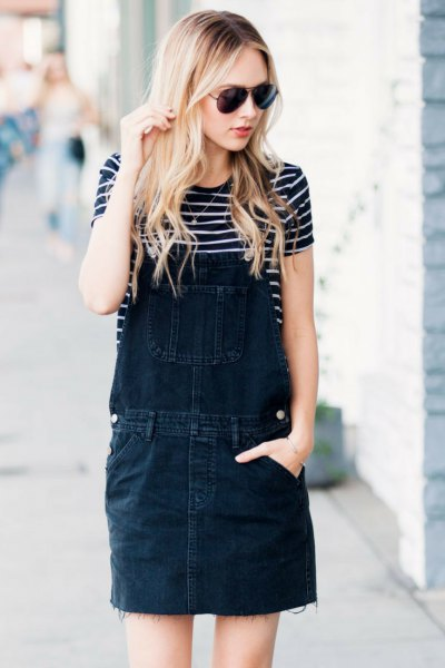 black washed denim dress striped tee