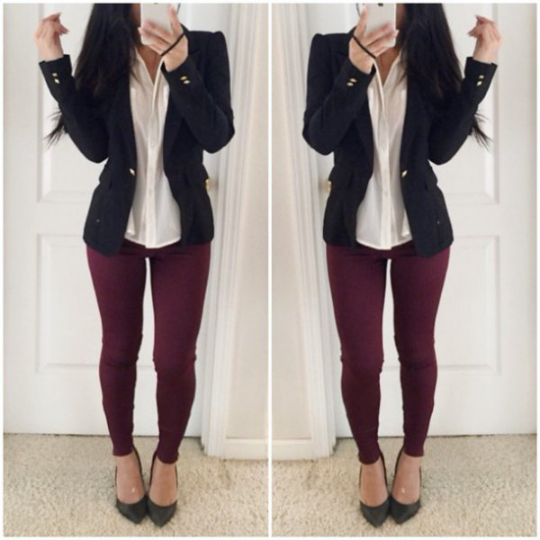 burgundy jeans light yellow shirt black blazer