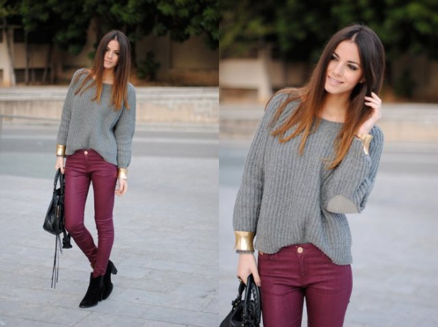 burgundy skinny jeans gray sweater with boat neck