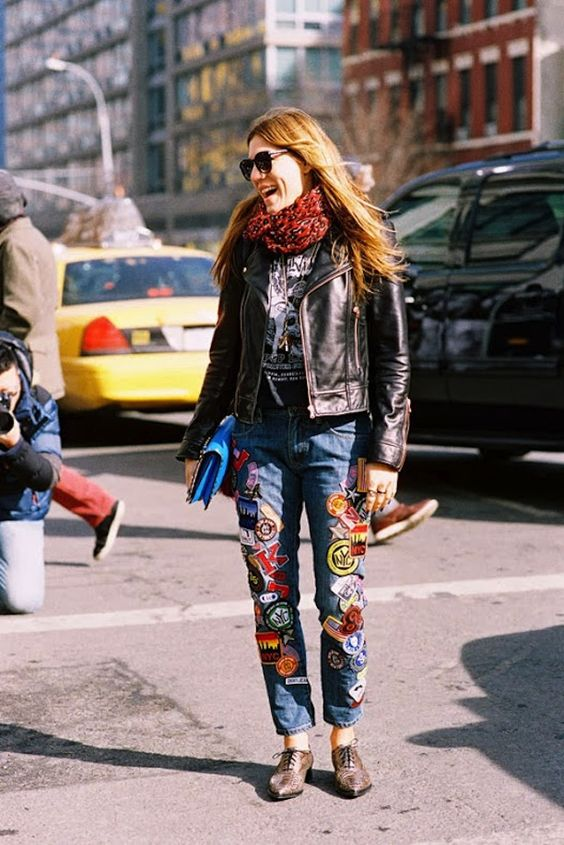 patchwork jeans leather jacket