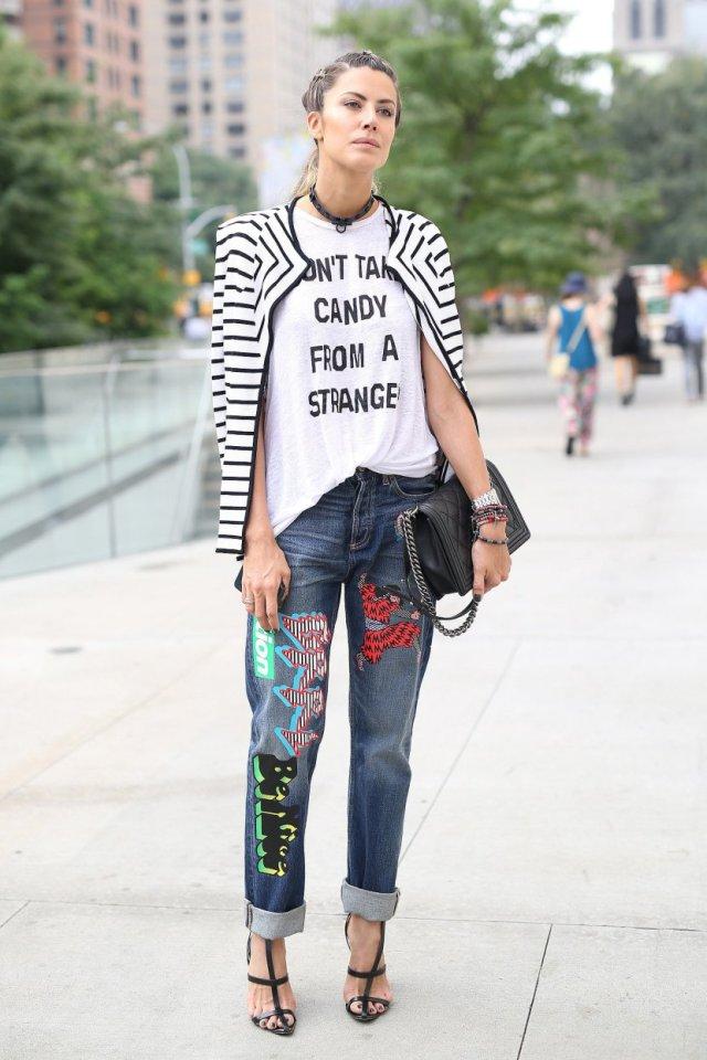 patchwork jeans graffiti