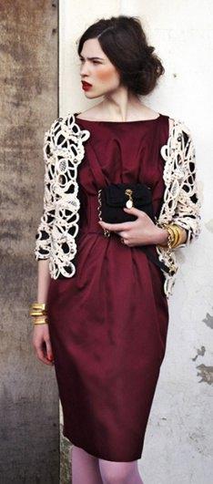 white lace shoulder back burgundy silk sheath midi dress