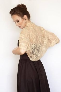 blush pink bolero lace shoulder black fit and flare dress