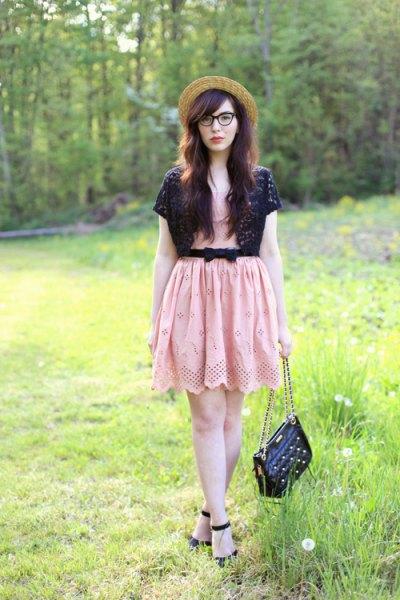 black shoulder pink belt mini dress