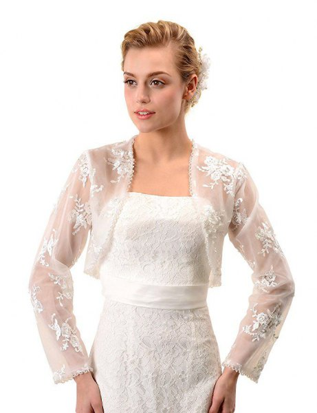 long sleeve white lace shoulder strap with wedding dress