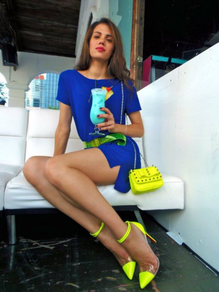royal blue belt mini dress yellow ankle strap heels