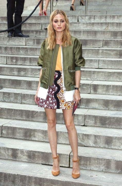 olive jacket printed skirt