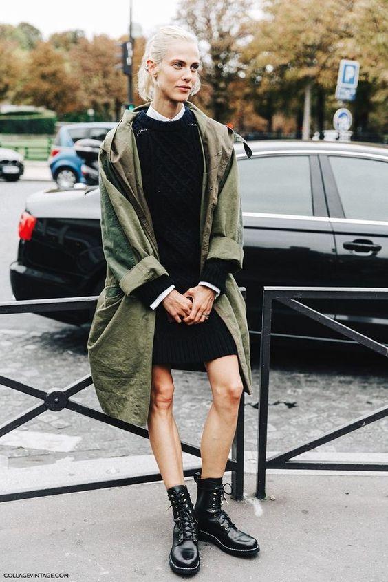 olive jacket long knit dress
