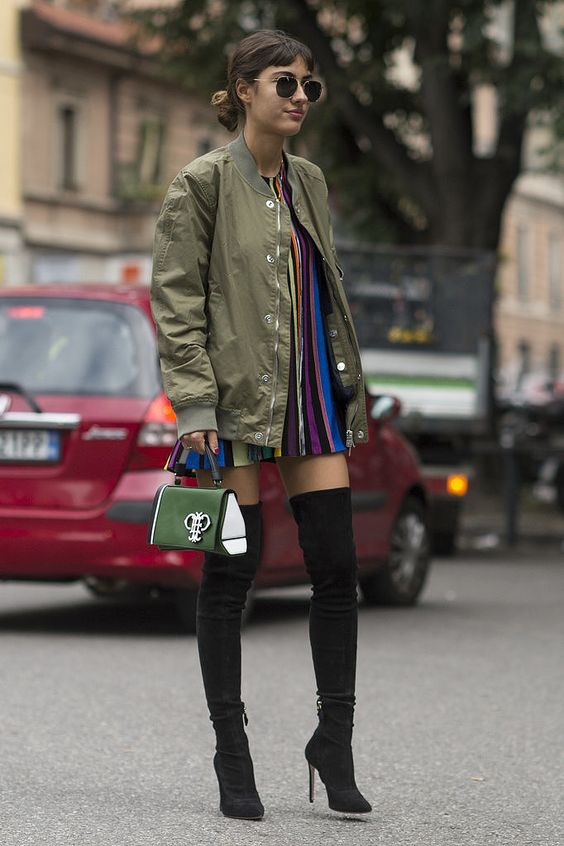 olive jacket colorful dress