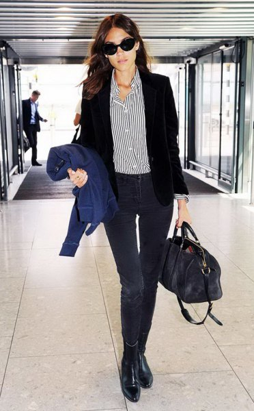 pinstripe boyfriend shirt with black blazer
