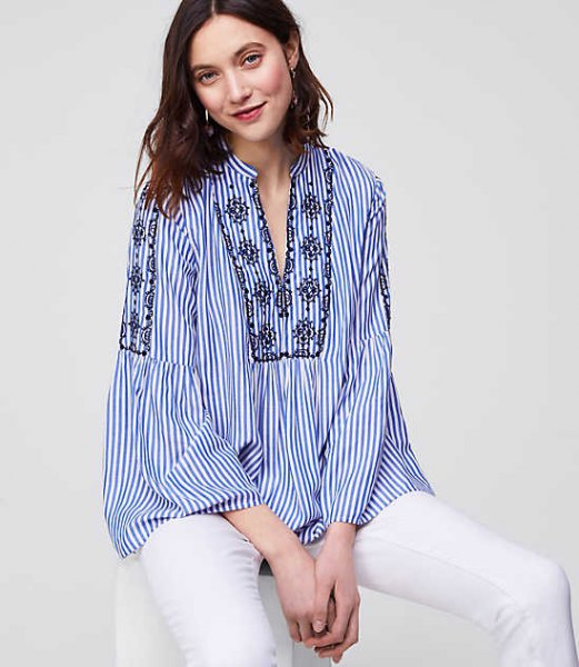 blue and white striped boho style shirt