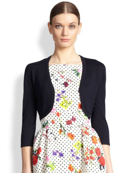 black bolero jacket white polka dot floral skater dress