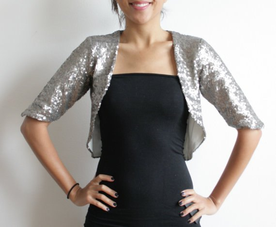 silver sequin-bolero jacket black tube dress